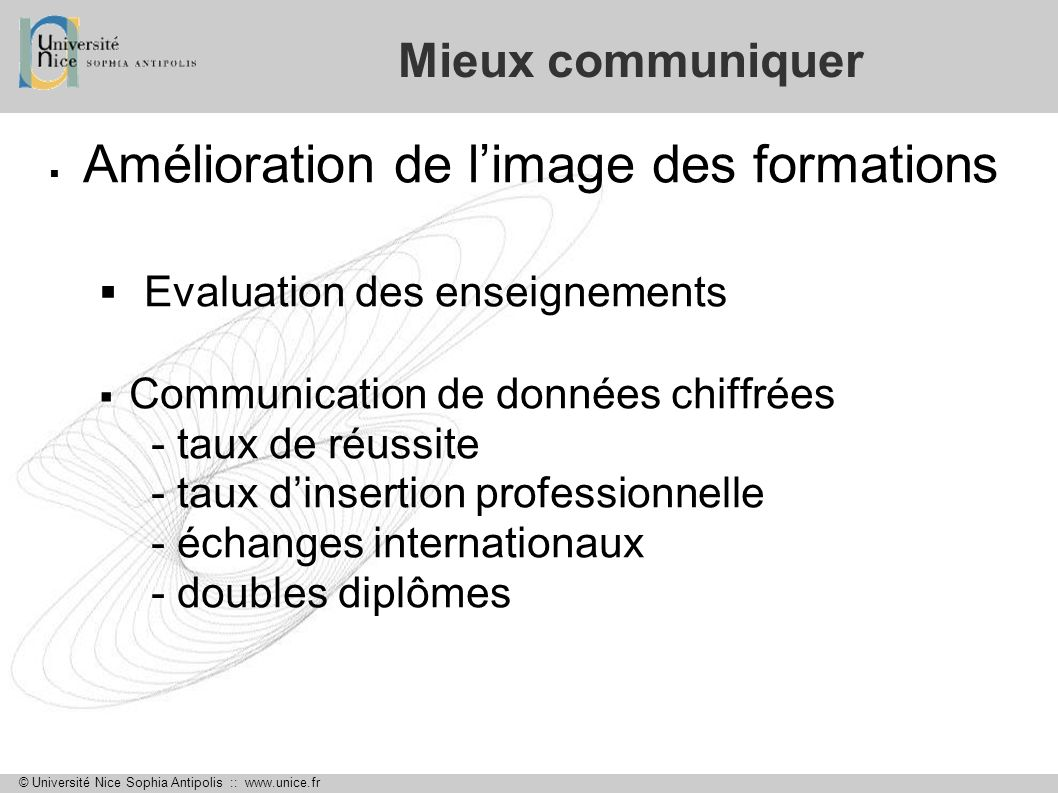 Amélioration de l'image des formations Evaluation des enseignements