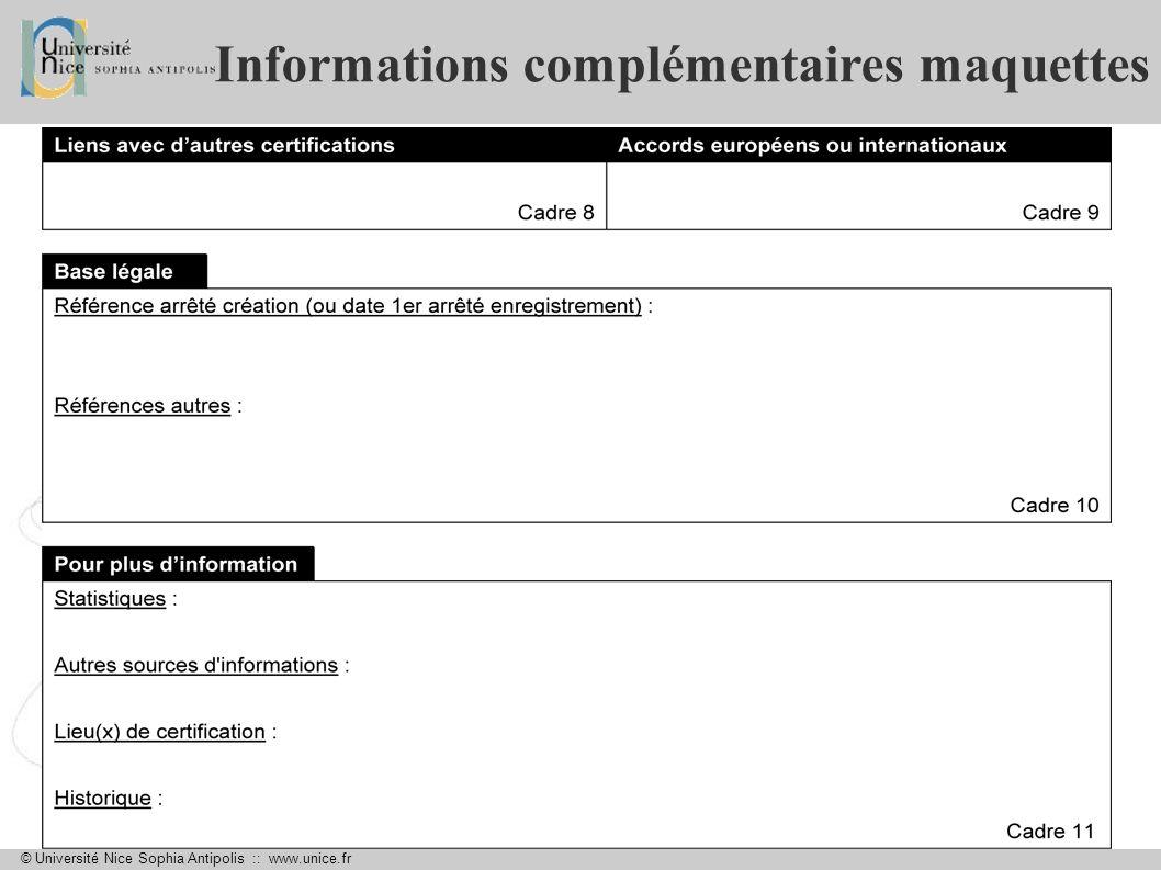 Informations complémentaires maquettes