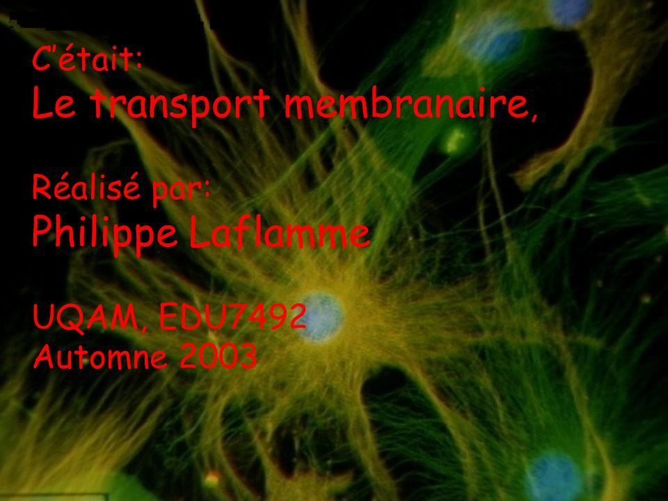 Le transport membranaire,