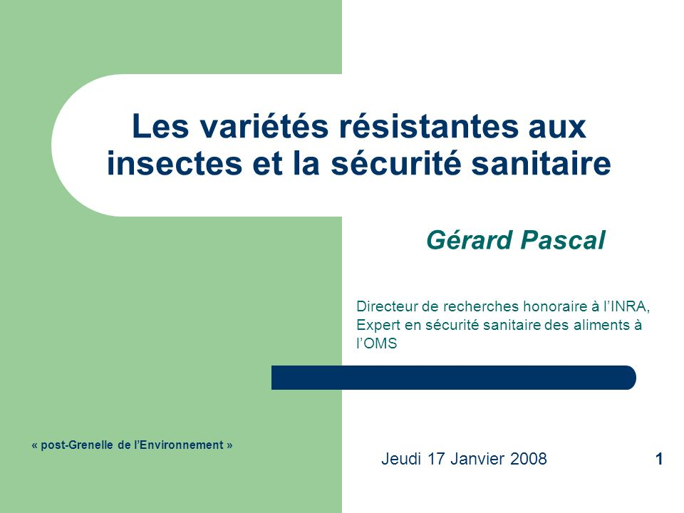 Les variétés résistantes aux insectes et la sécurité sanitaire