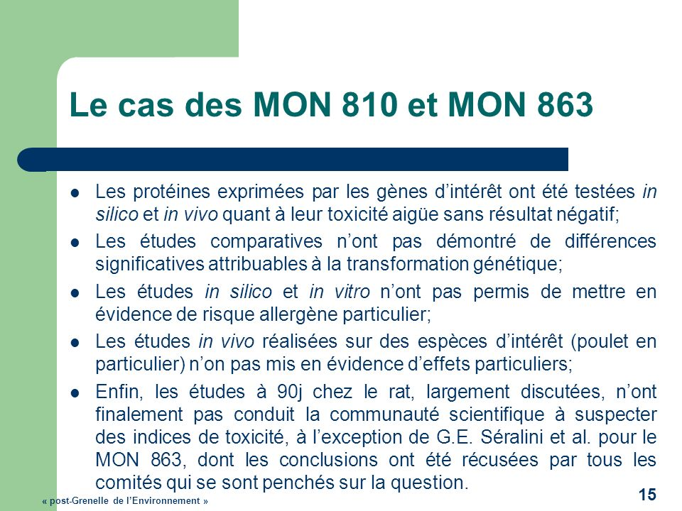 Le cas des MON 810 et MON 863