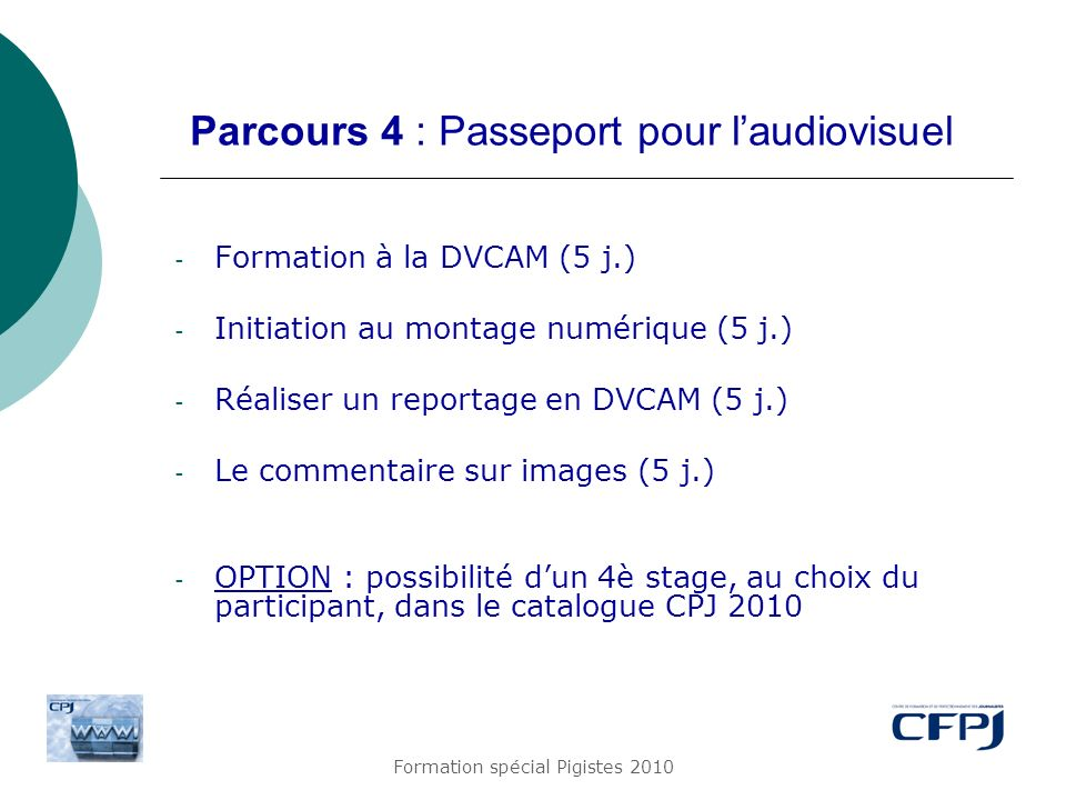 Parcours 4 : Passeport pour l'audiovisuel
