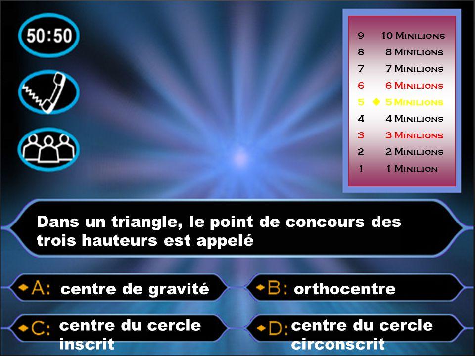 Dans un triangle, le point de concours des trois hauteurs est appelé