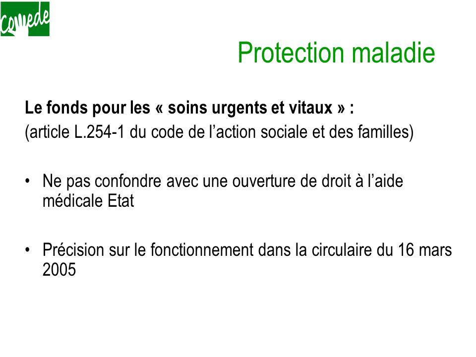Protection maladie Le fonds pour les « soins urgents et vitaux » :