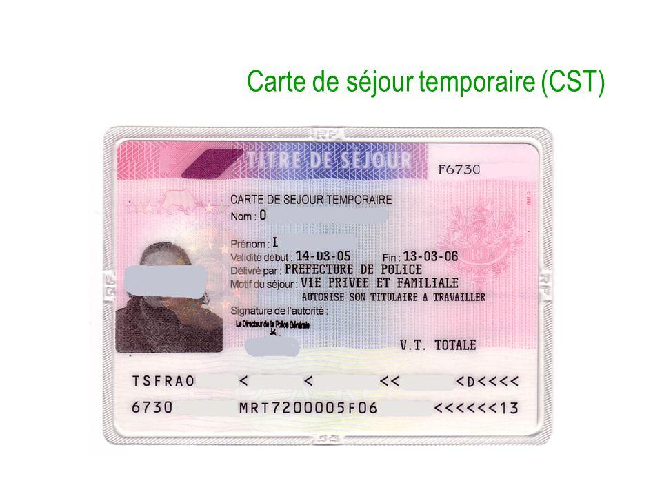 Carte de séjour temporaire (CST)
