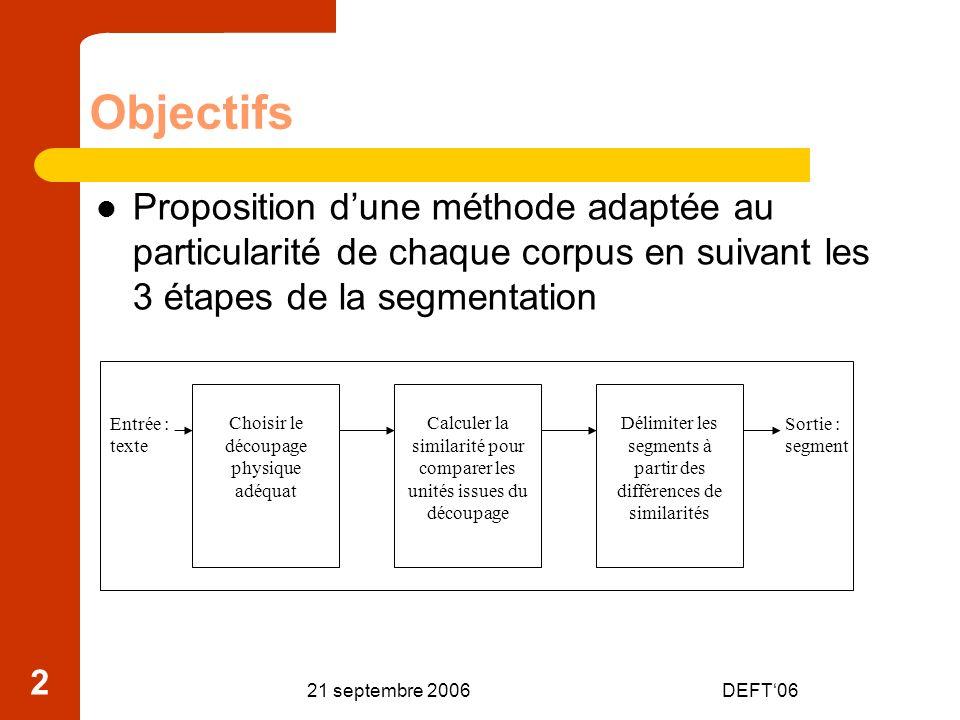 Objectifs Proposition d'une méthode adaptée au particularité de chaque corpus en suivant les 3 étapes de la segmentation.