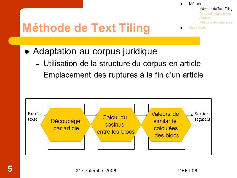 Méthode de Text Tiling Adaptation au corpus juridique