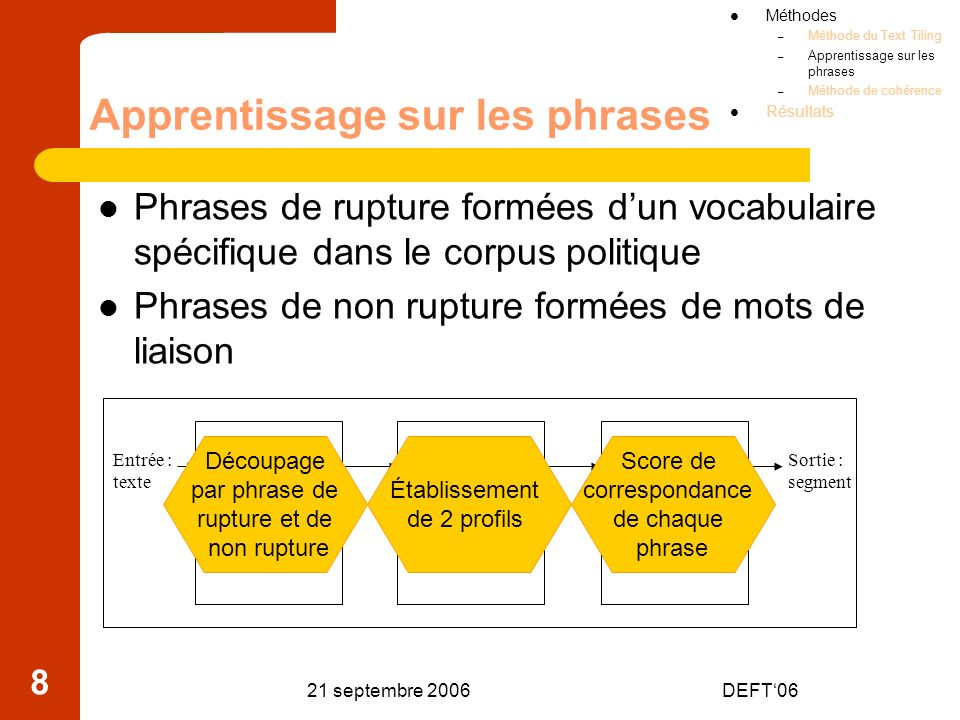 Apprentissage sur les phrases
