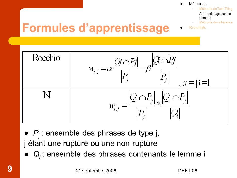 Formules d'apprentissage