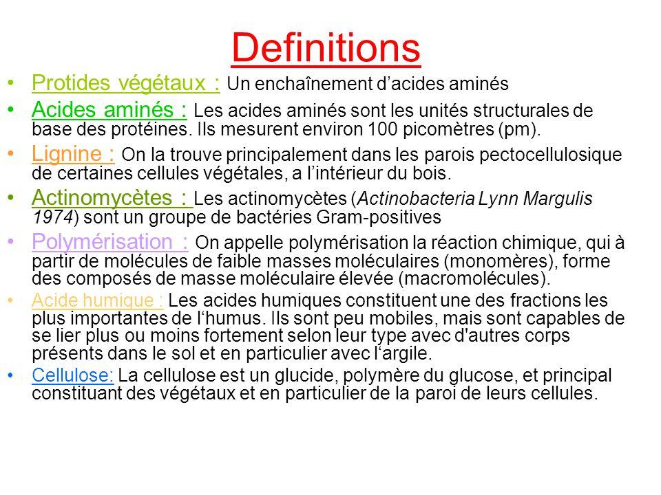 Definitions Protides végétaux : Un enchaînement d'acides aminés
