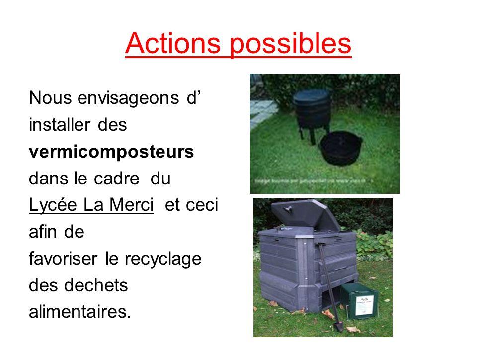 Actions possibles Nous envisageons d' installer des vermicomposteurs