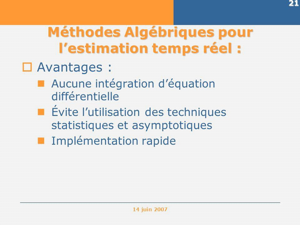 Méthodes Algébriques pour l'estimation temps réel :