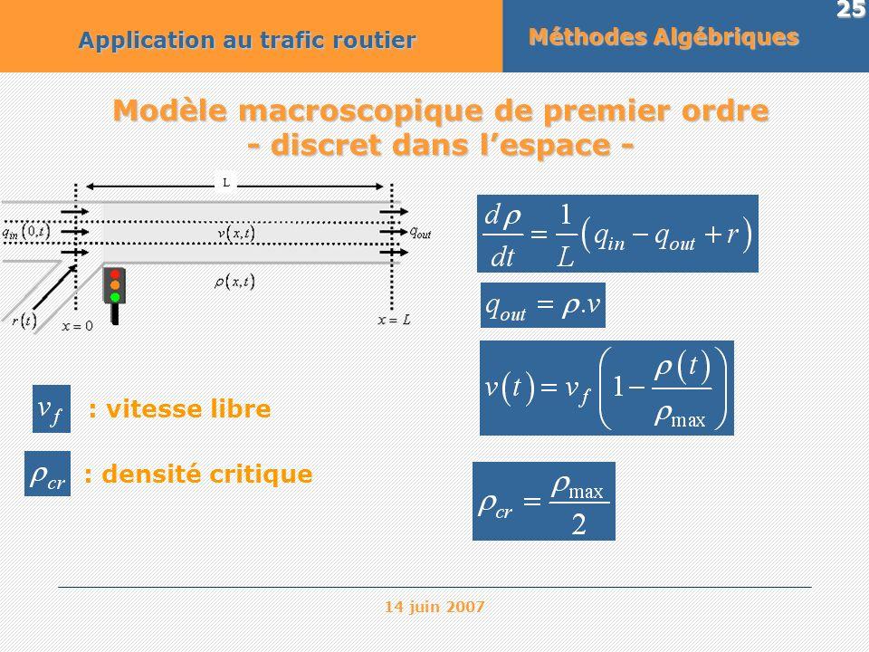 Modèle macroscopique de premier ordre - discret dans l'espace -