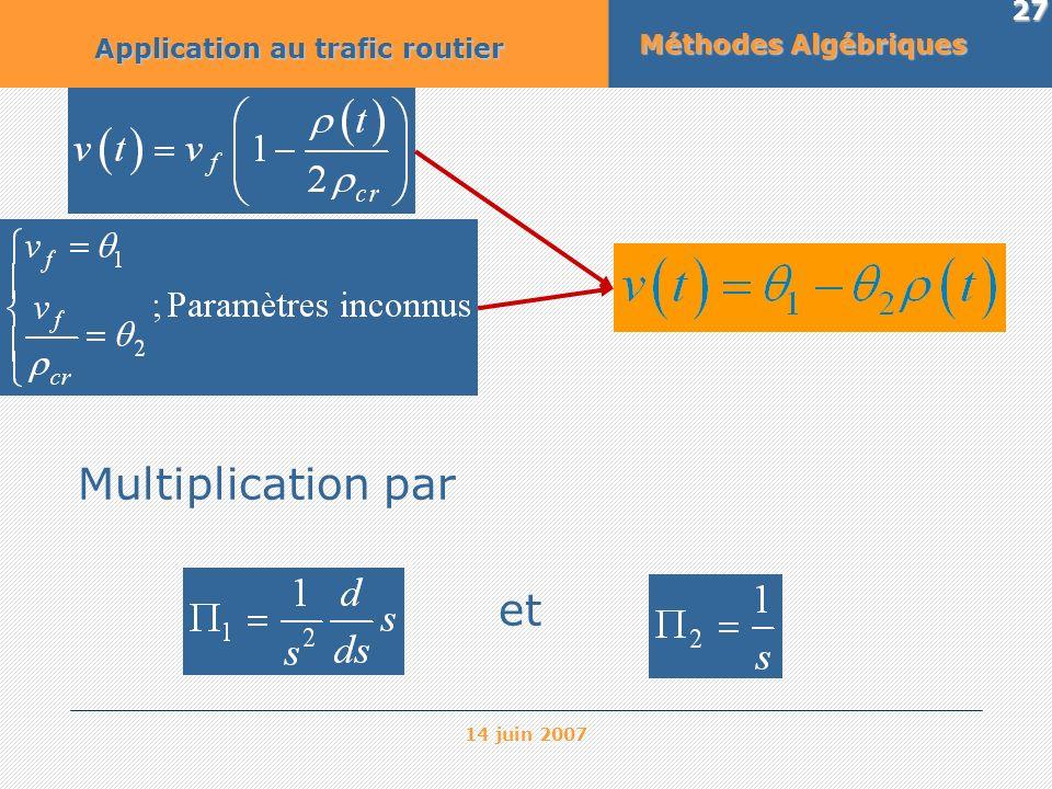 Multiplication par et Méthodes Algébriques