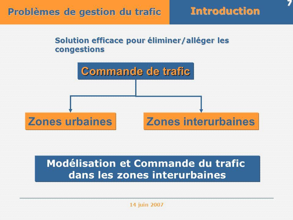 Modélisation et Commande du trafic dans les zones interurbaines