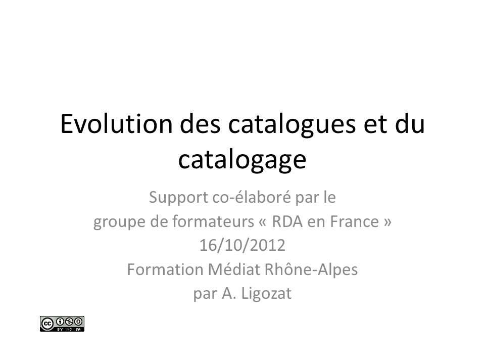 Evolution des catalogues et du catalogage