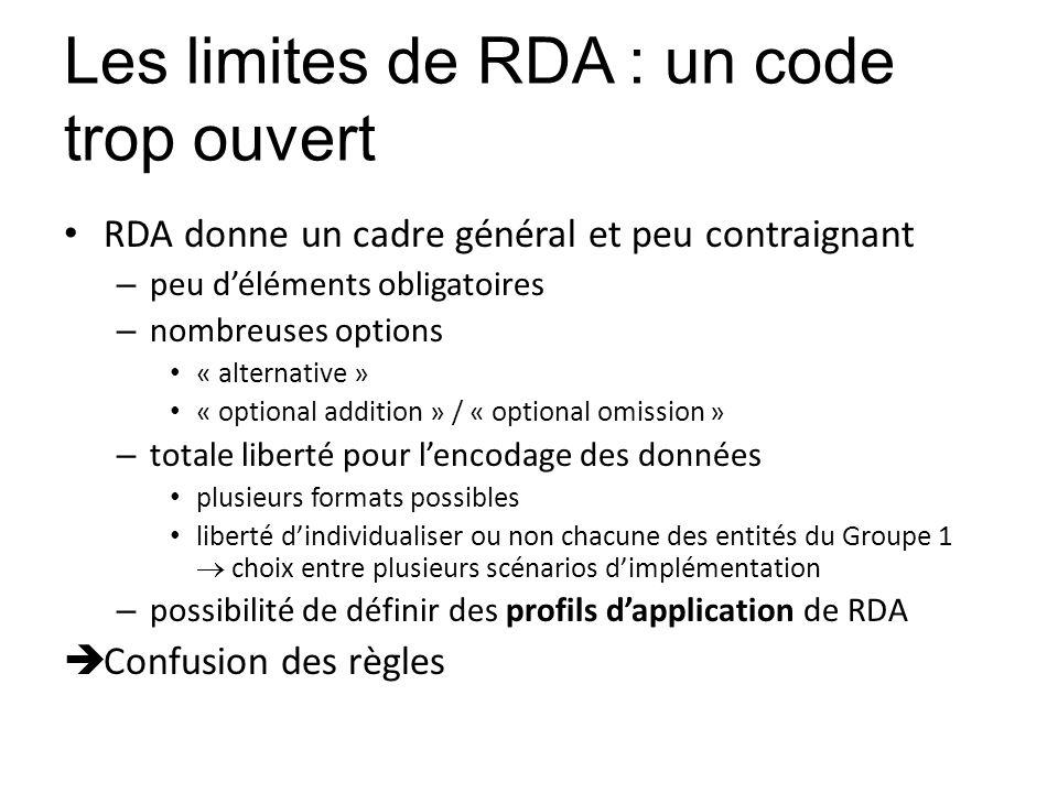 Les limites de RDA : un code trop ouvert