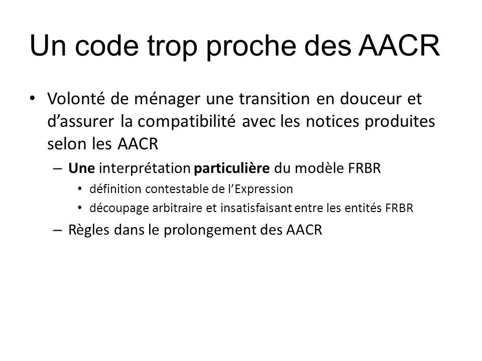 Un code trop proche des AACR