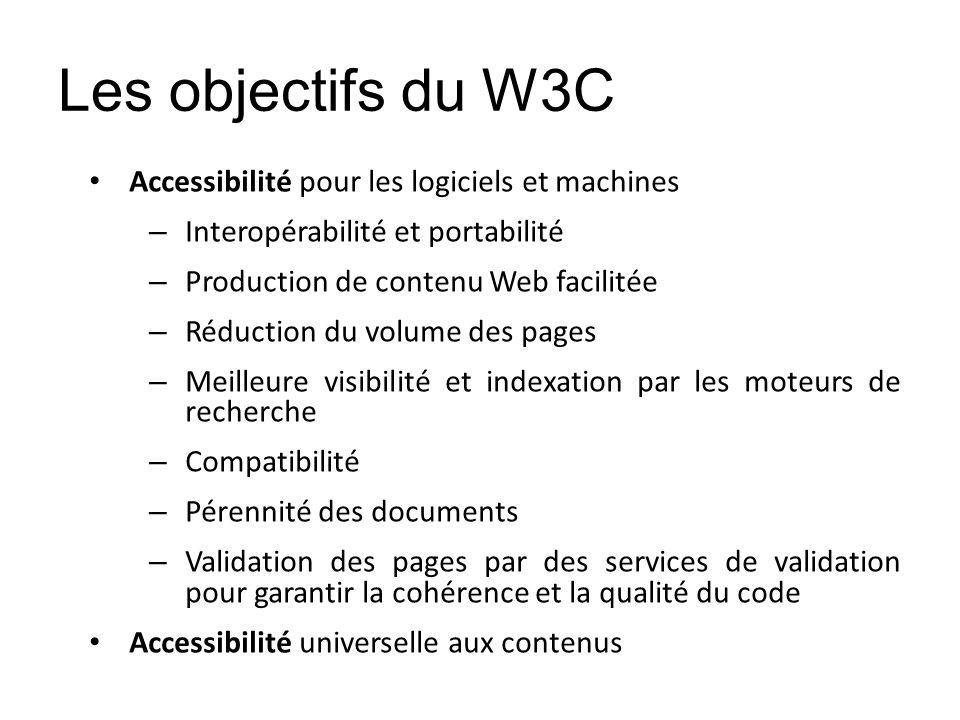 Les objectifs du W3C Accessibilité pour les logiciels et machines