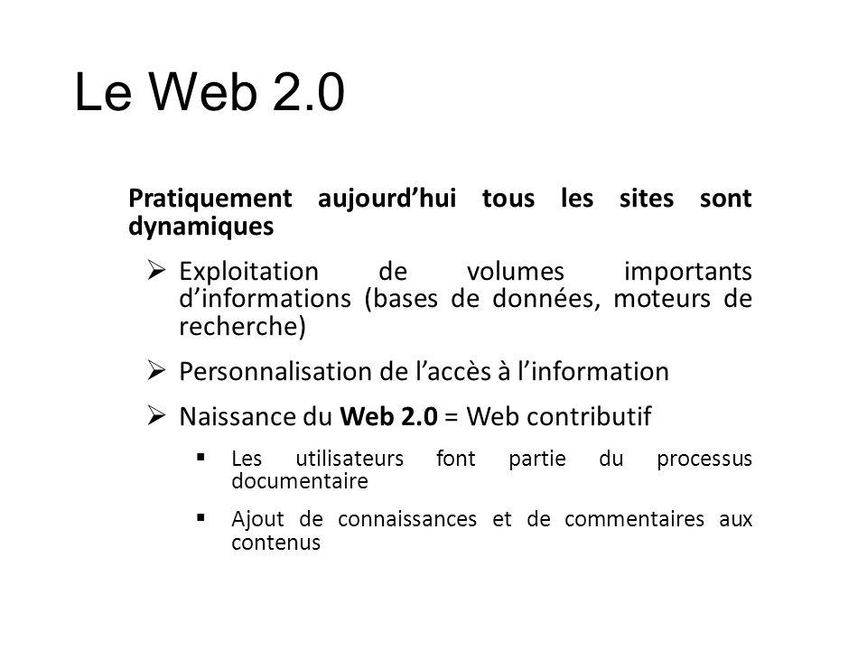 Le Web 2.0 Pratiquement aujourd'hui tous les sites sont dynamiques
