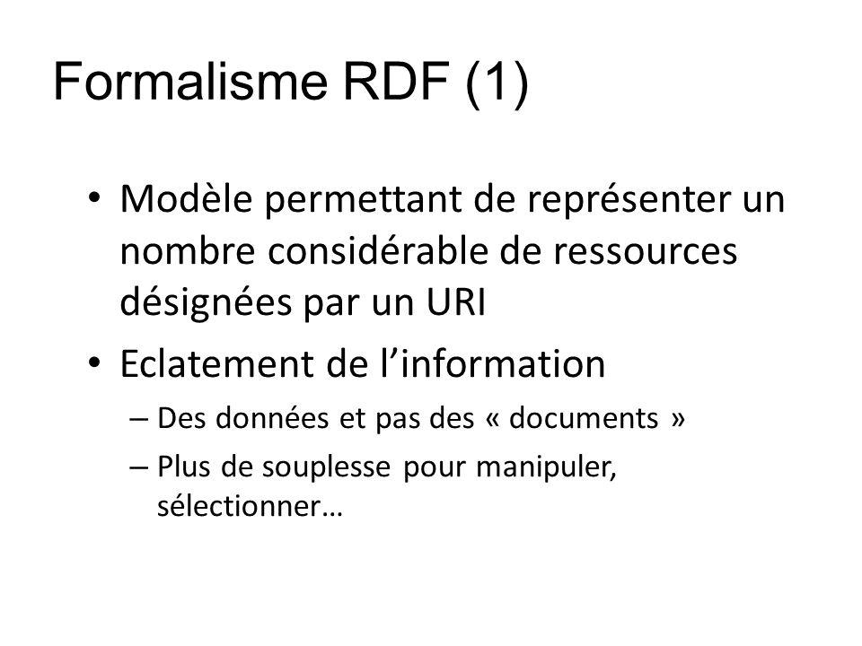 Formalisme RDF (1) Modèle permettant de représenter un nombre considérable de ressources désignées par un URI.