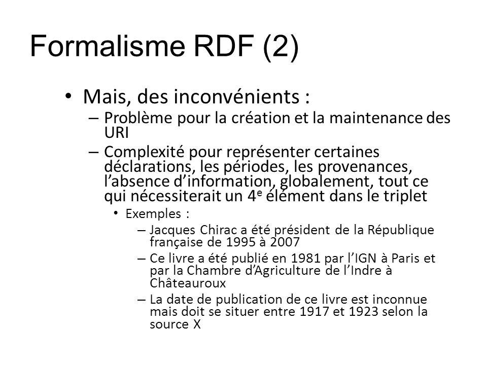 Formalisme RDF (2) Mais, des inconvénients :