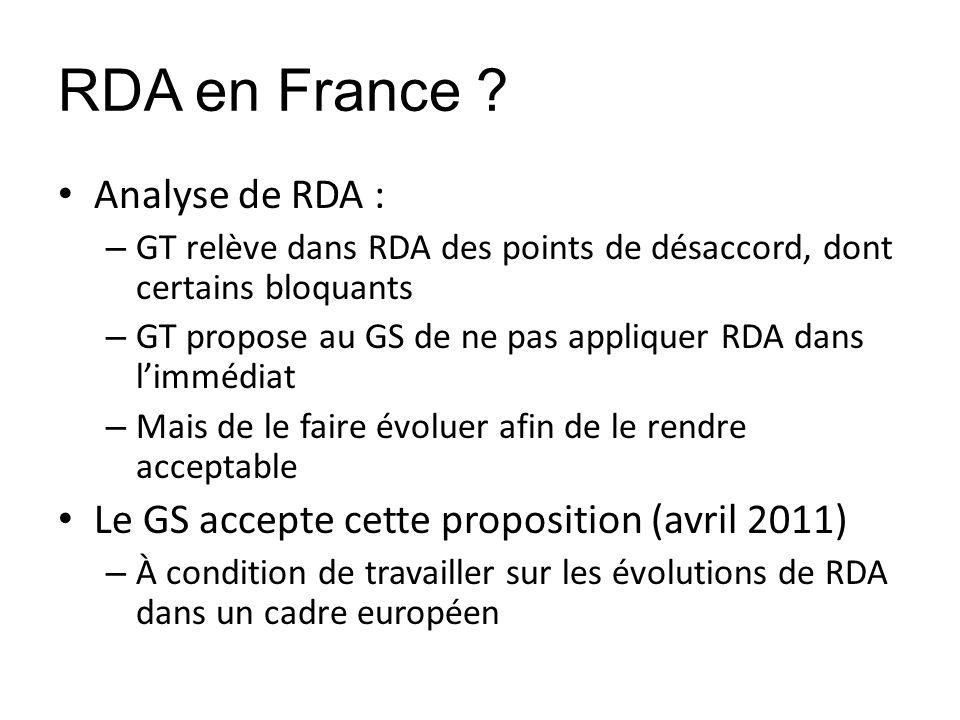 RDA en France Analyse de RDA :