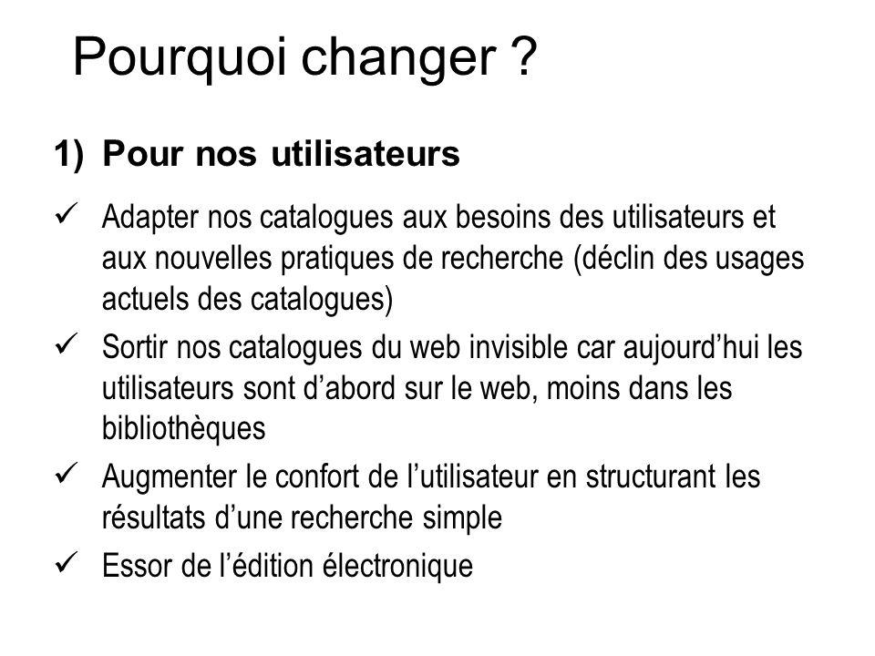 Pourquoi changer Pour nos utilisateurs