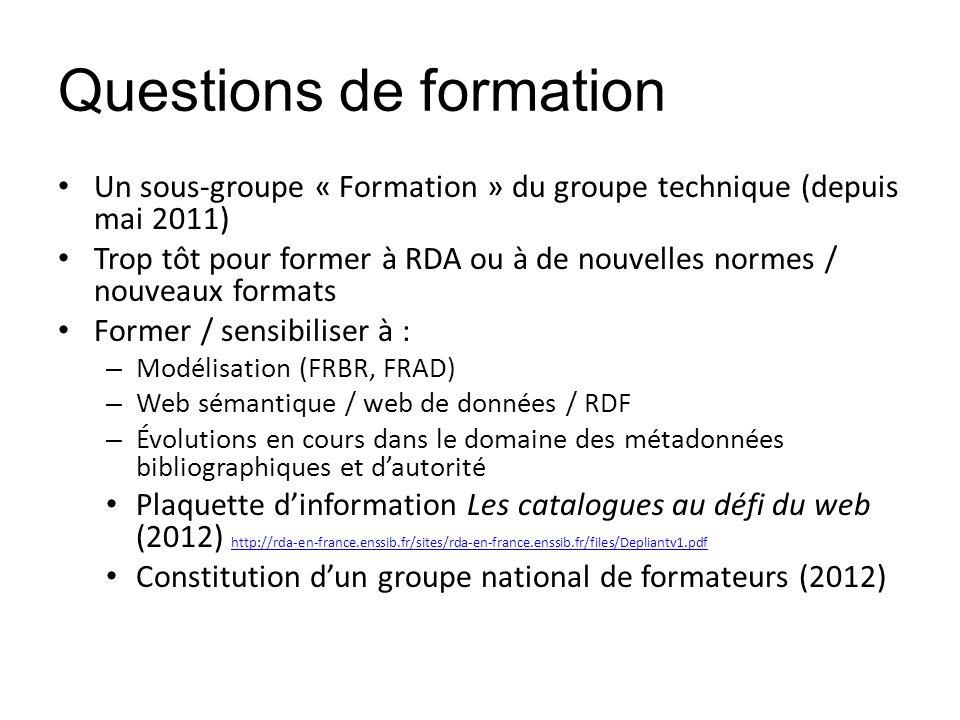 Questions de formation