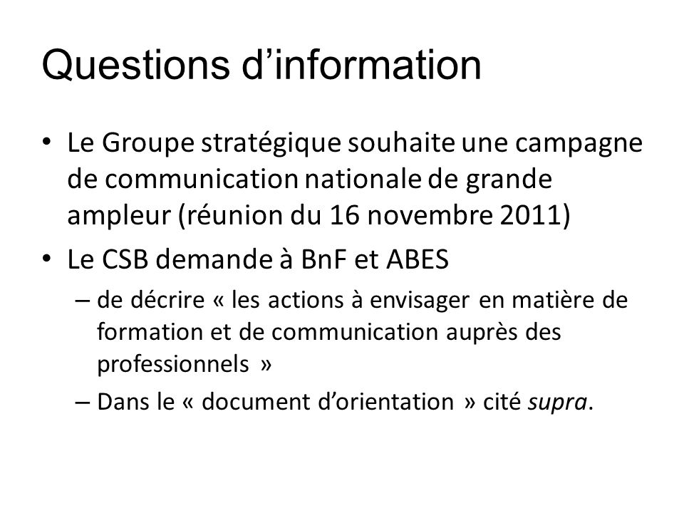 Questions d'information