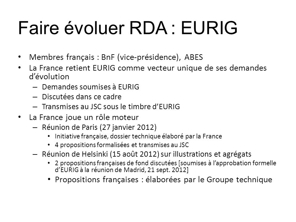 Faire évoluer RDA : EURIG