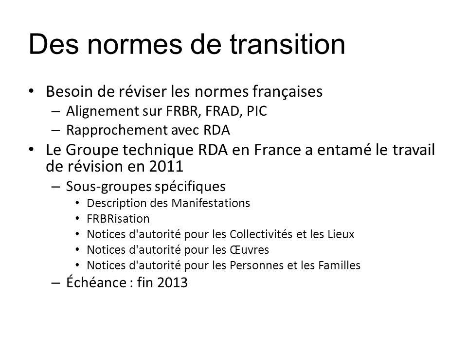 Des normes de transition