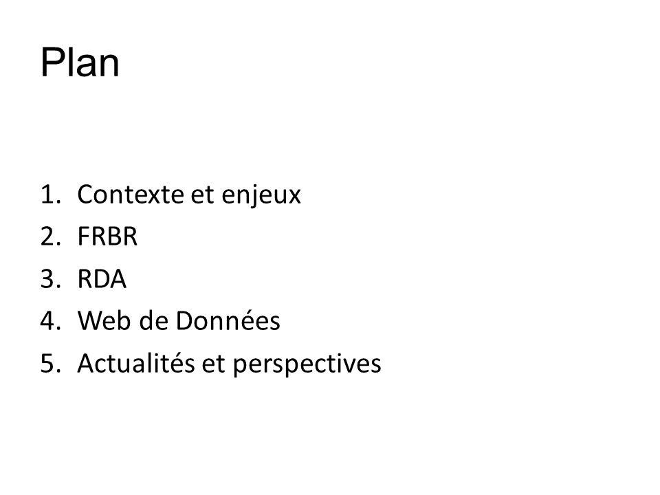 Plan Contexte et enjeux FRBR RDA Web de Données
