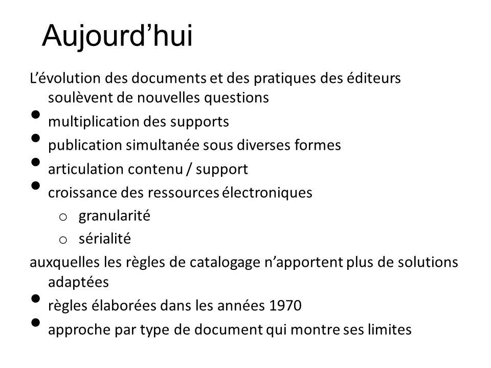 Aujourd'hui L'évolution des documents et des pratiques des éditeurs soulèvent de nouvelles questions.