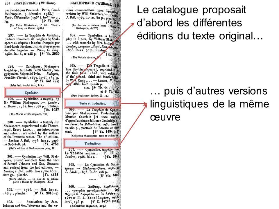 Le catalogue proposait d'abord les différentes éditions du texte original…