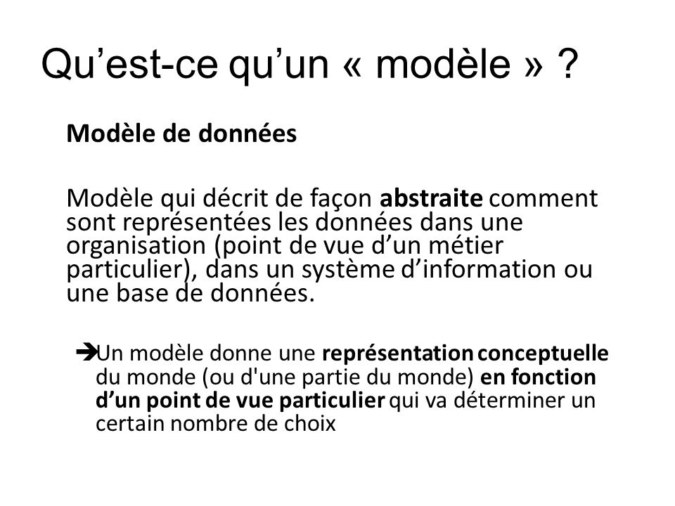 Qu'est-ce qu'un « modèle »