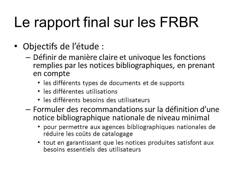 Le rapport final sur les FRBR