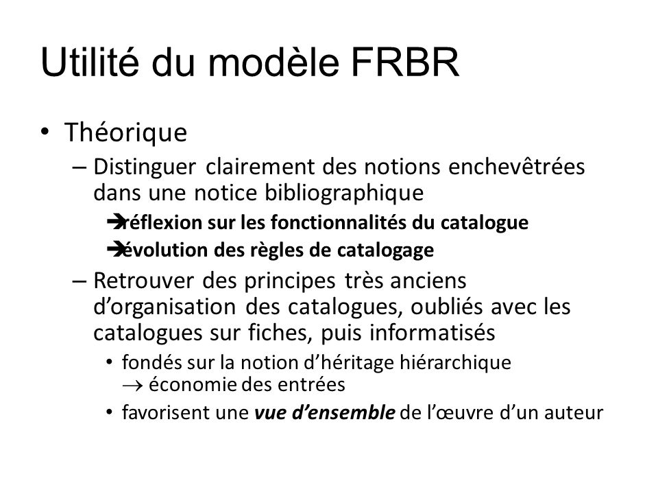 Utilité du modèle FRBR Théorique