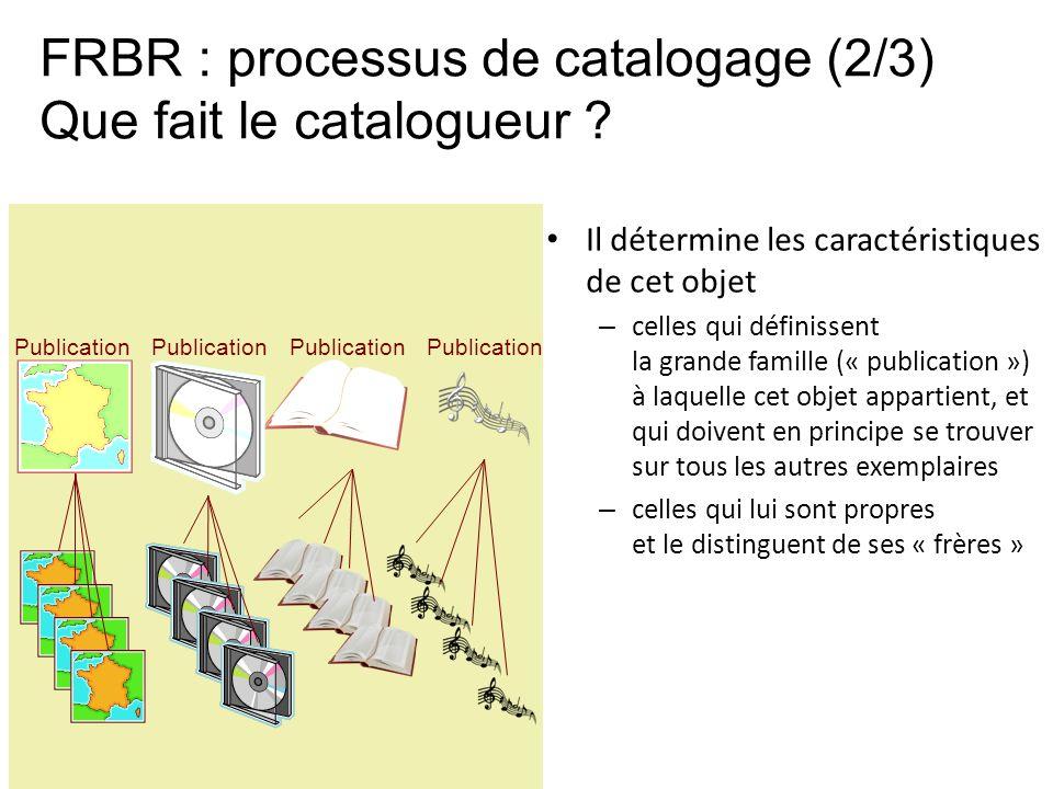 FRBR : processus de catalogage (2/3) Que fait le catalogueur