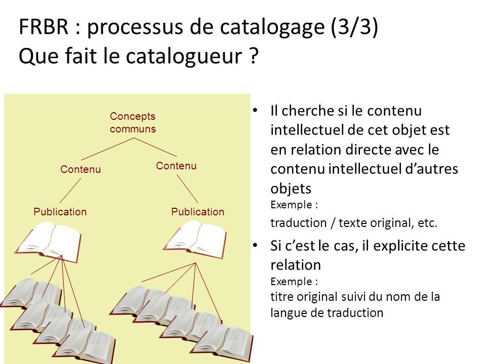 FRBR : processus de catalogage (3/3) Que fait le catalogueur