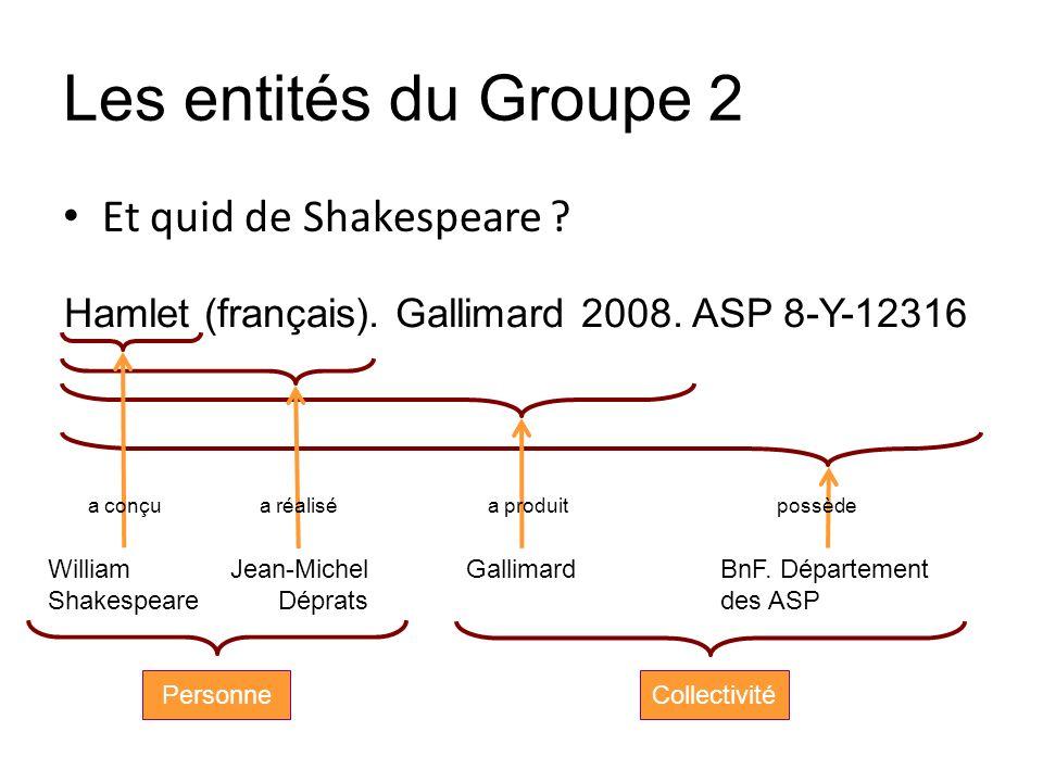 Les entités du Groupe 2 Et quid de Shakespeare