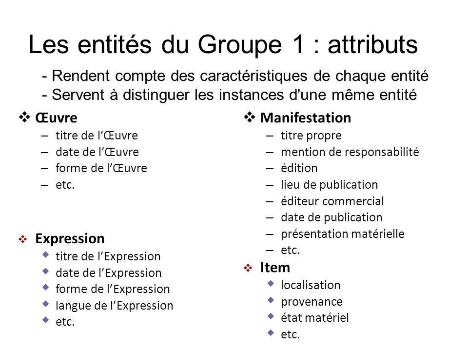 Les entités du Groupe 1 : attributs