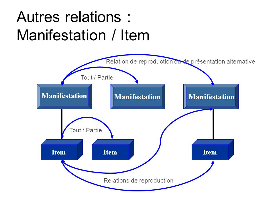 Autres relations : Manifestation / Item