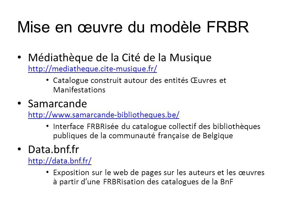 Mise en œuvre du modèle FRBR