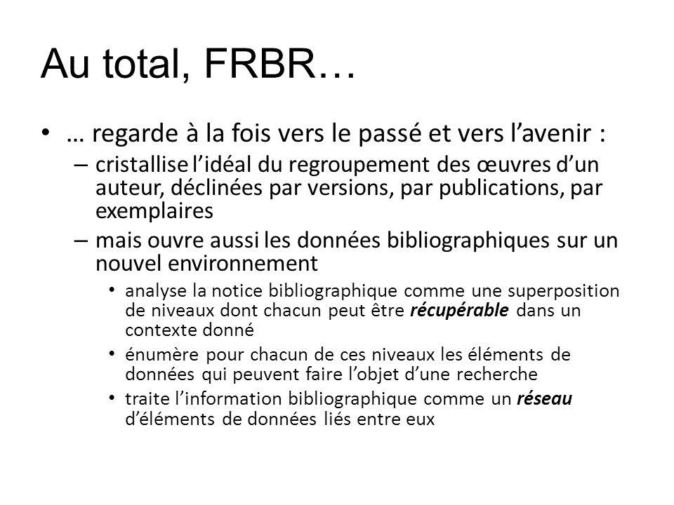 Au total, FRBR… … regarde à la fois vers le passé et vers l'avenir :