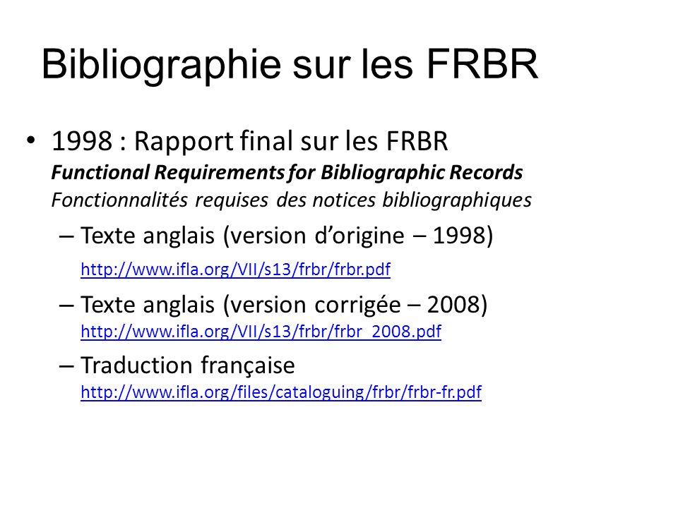 Bibliographie sur les FRBR