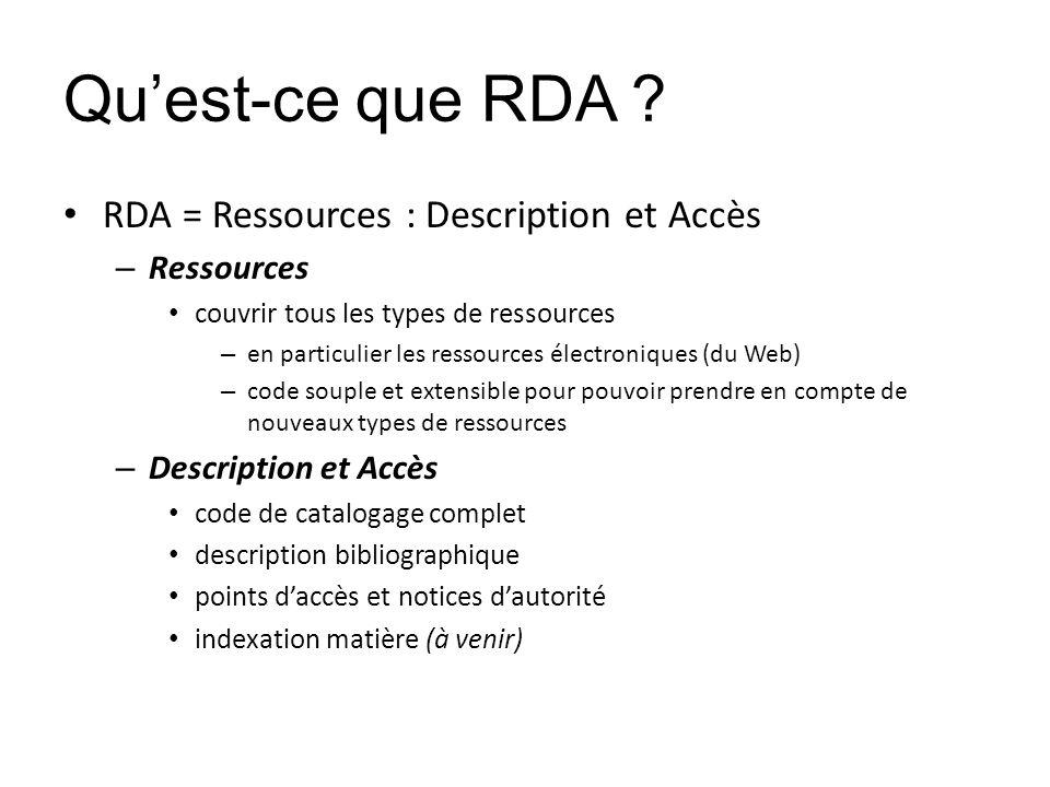 Qu'est-ce que RDA RDA = Ressources : Description et Accès Ressources