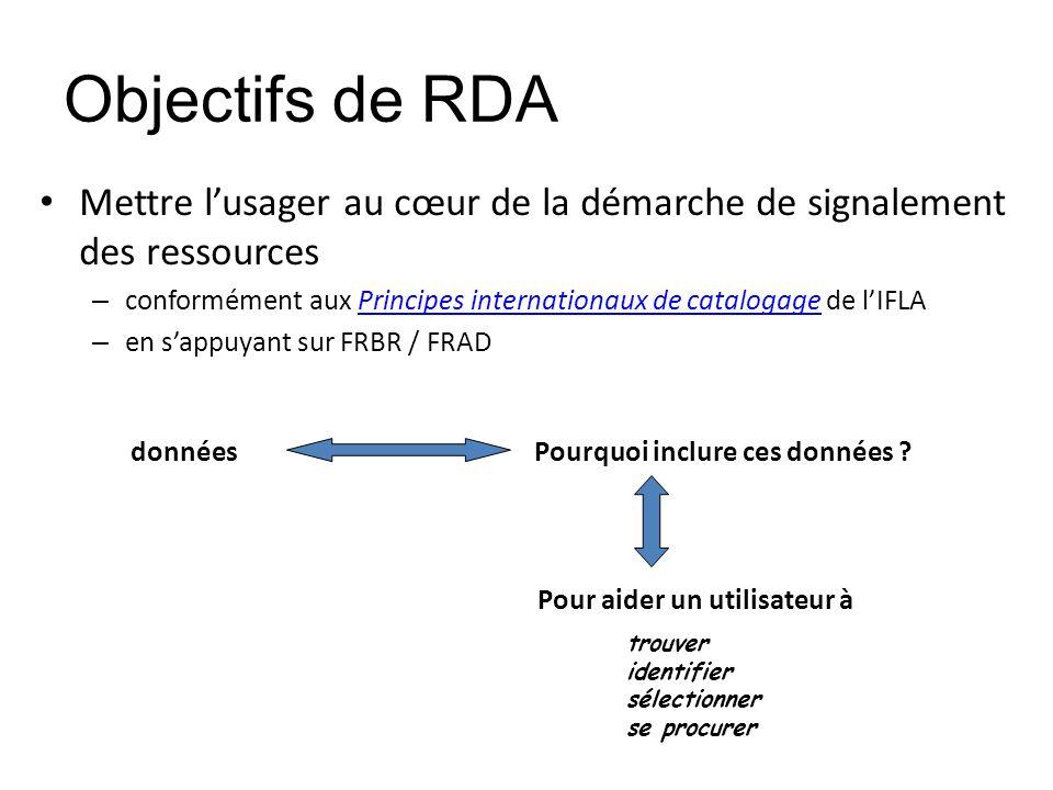Objectifs de RDA Mettre l'usager au cœur de la démarche de signalement des ressources.