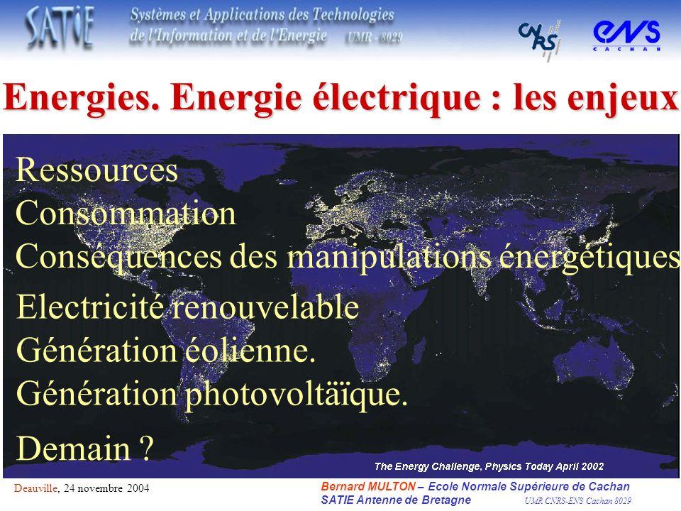 Energies. Energie électrique : les enjeux