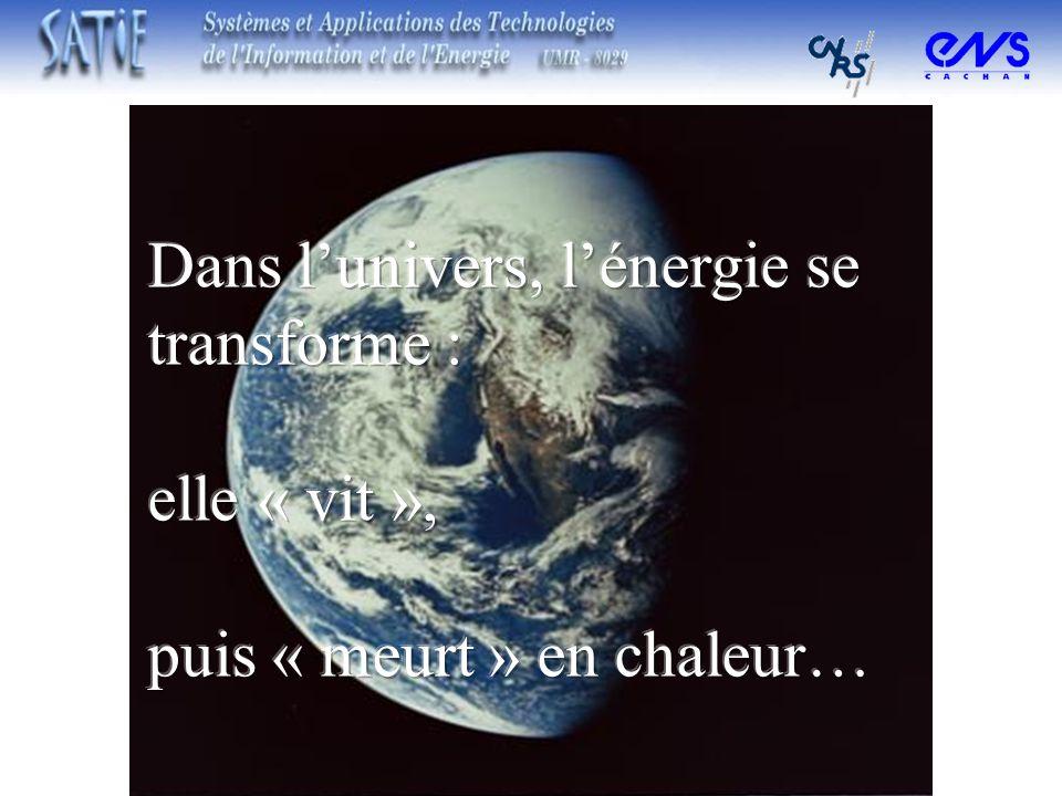 Dans l'univers, l'énergie se transforme :